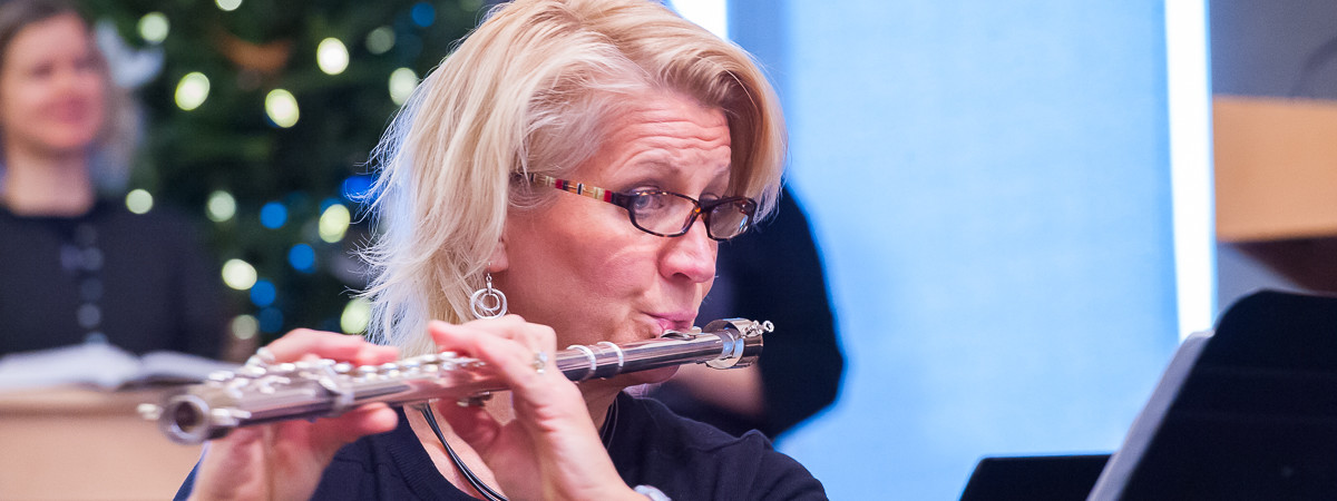 Sondra Mowers playing flute for 2014 Cantata