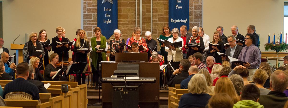 Choir in 2014 Cantata - Jim at organ