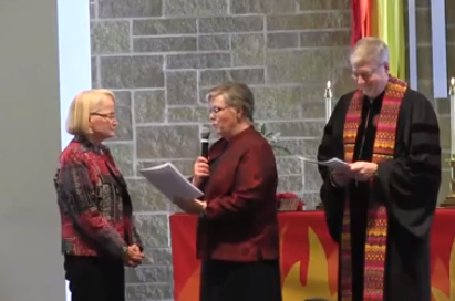 Terese with Diann Anders and Rick Wagner during rite of ordination