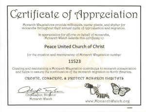 Certificate of Appreciation for Monarch Waystation