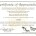 Certificate of Appreciation for Monarch Waystation