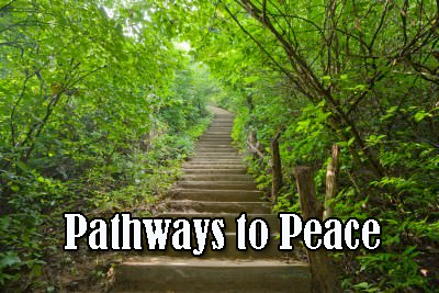 Stair way going through a foster with words Pathways to Peace superimposed over image