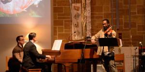Rudy playing Brahms, accompanied by Jim