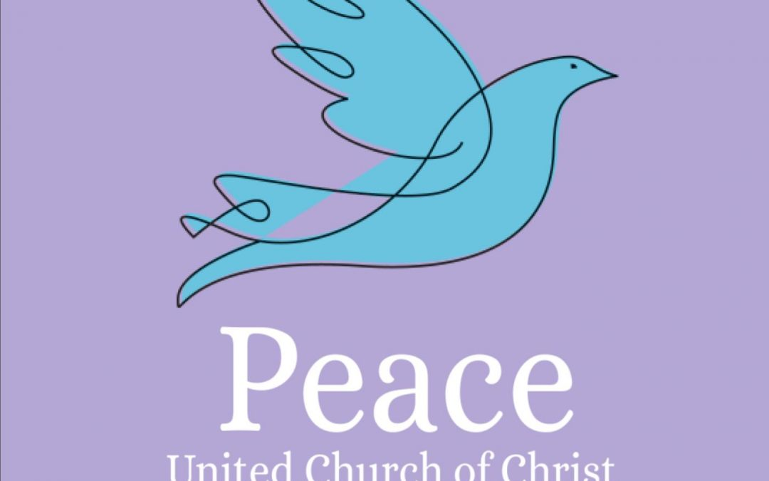 Teal dove on purple background. Text reads Peace United Church of Christ Worship Services